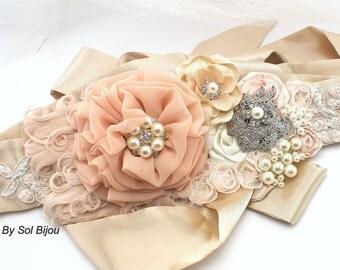 Sash, Blush Sash, Feather Sash, Ivory, Tan, Beige, Champagne, Brooch, Pearls, Crystals, Elegant, Vintage Style, Gatsby