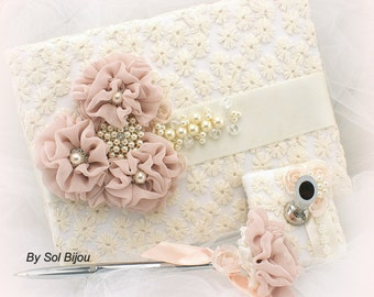 Guest Book, Ivory, Cream, Blush, Pink, Lace, Wedding, Bridal, Signature Book, Signing Pen, Crystals, Brooch, Pearls, Vintage Style