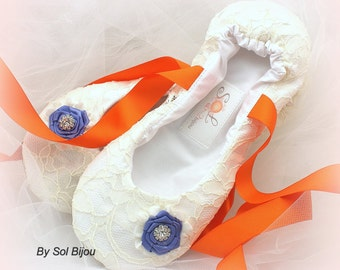 Ballet Flats, Ivory, Orange, Periwinkle, Blue, Bridal, Shoes, Flats, Flower Girl, Ballerina Slippers, Lace, Crystals, Elegant Wedding