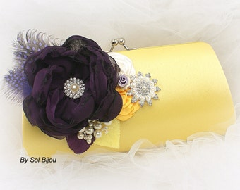 Clutch, Wedding, Mother of the Bride, Maid of Honor, Handbag, Purse, Yellow, Plum, Lilac, Ivory, Feathers, Brooch, Crystals, Pearls, Elegant