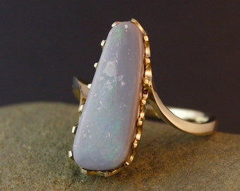 Lavender Grey Opal Ring - Rough Australian Opal Ring - Organic Shape, OOAK