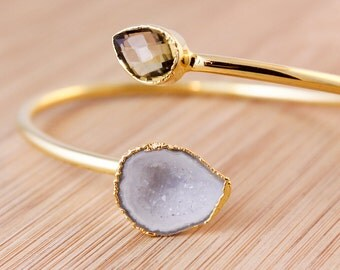 Gold Champagne Citrine and White Geode Bangle - Dual Stone Bangle - Adjustable Bangle