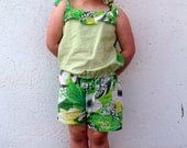 Sale Half Price Funky Green Upcycled Playsuit age 3