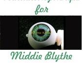 Middie Blythe New Soft Resin OOAK REALISTIC custom eye chips set H14 , by Ana Karina. UV laminated