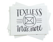 Text Less. Write More. - Letterpress Postcard Set of Five