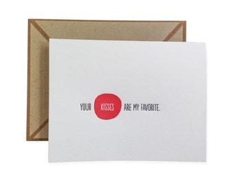 Your Kisses letterpress card - single