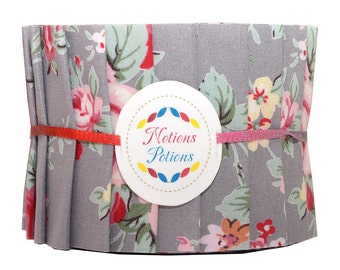 """Fabric Jelly Roll 2 1/2"""" 20 Strips Retro Vintage English Floral Rose Gray"""