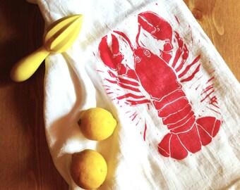 wood block print lobster tea towel by color.joy.