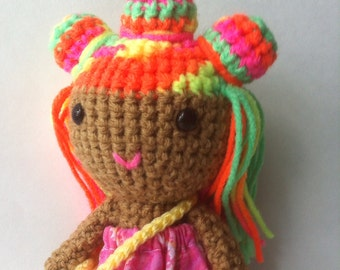 Adorable handmade doll with bright neon multicolored hair