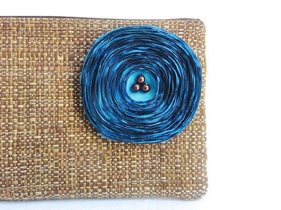 Chocolate Brown Clutch Handbag with Aqua Satin Flower
