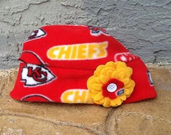 Kansas City Chiefs Fleece flower hat  Sizes Newborn Baby Child and Adult