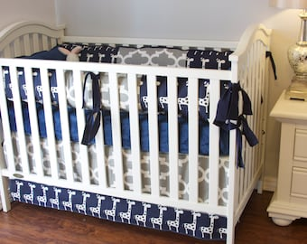 Giraffe Boy Crib Set, Baby Boy Crib Bedding, Giraffe Boy Crib Bedding, Navy and Grey Crib Bedding, Ritzy Baby, Adorable Boy Crib Ensemble