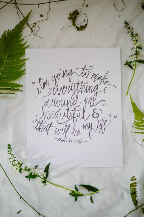 Calligraphy Art Print - Everything Beautiful - 8 x 10