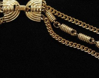 Monet Three Strand Gold Chain Necklace w/ Barrel Beads