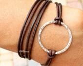 BOHO Leather Triple Wrap - Silver Infinity Textured Circle Bracelet - Pick COLOR / SIZE Bohemian Leather Multi Gypsy Wrap - Usa Seller 425