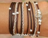 BOHO Leather Wrap Chain Bracelet - Adjustable Distressed Natural Leather Triple Wrap Bracelet w/ Silver Tibetan Style accents - USA  - 89