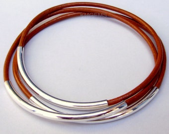 USA - 3 Leather BANGLES - SILVER Tube - Custom Pick Color Leather / Size - Lead Free Leather Tube Bangle Bracelet - Choice of 24 Colors 001