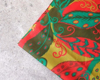 Vintage Fabric Lightweight Avocado Grass Olive Green Red Teal Feathers and Leaves Tribal Design Sewing Supplies Yardage