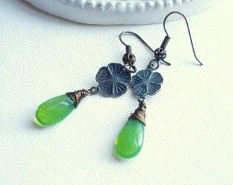 Apple Green Drop Earrings, St Patrick's Day Flower Dangle Earrings, Vintage Style, Verdigris Patina Brass Flower Earrings Gift For Her