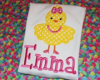 Easter chick in heels- tshirt, baby bodysuit, or dress