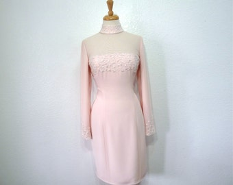 SOLD / Vintage 80s Pastel Pink Dress See Through Beaded dress by Oleg Cassini Size 8