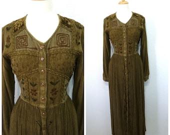 Vintage 90  Dress Embroidered MPH Ethnic Festival Gauze Dress Medium Large