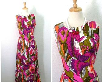 1960's Cotton Dress Aloha Authentic Hawaiian Original Floral print dress Medium