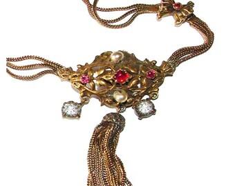 Free Shipping Rare Signed Coro Pegasus Rhinestone Vintage Adolph Katz High End Choker Necklace
