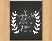 "PRINTABLE PDF Instant Download ""Go Confidently in the Direction of your Dreams"" Quote"