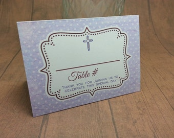 BAPTISM Purple polka dot Place cards - tent cards by Just Scraps N' Things