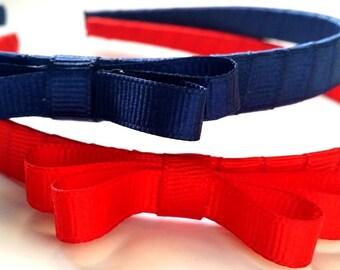 Navy & Red Headband Half A Inch Set of 2