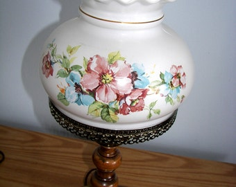 VIntage Hurricane style Lamp hand painted milk glass Shabby Chic Flowers