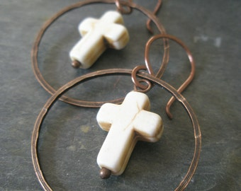 White Turquoise Cross Earrings, White Turquoise Howlite and Hammered Copper Ring Dangle Earrings
