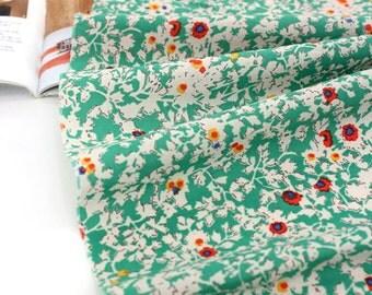A Yard, Lovely Floral on Green ASSA Cotton WIDE 140cm, U7271