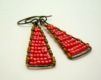 SALE - clearance - annealed steel triangles with coral seed bead earrings