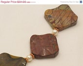 JUNE 2014 SALE Picasso Jasper, Pearl, and Copper Necklace - LARGE and Chunky - Great for Autumn/Thanksgiving !