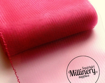 6 Inch (15cm) Wide Crinoline (Crin, Horsehair Braid) for Hats, Millinery, and Fascinators - Fuschia Pink