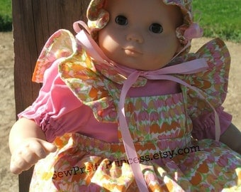Pink Dress, Tulip Apron and Tulip Bonnet Ensemble for Bitty Baby