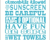 Pool Rules Subway Art Wall Sticker Vinyl Decal Saying Quote 23x13 Have Fun Laugh & Play Splash