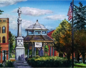 Original Plein Air Painting of Small Midwestern Town -18x14in