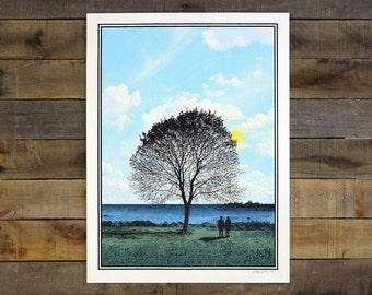 Tree and Couple Screen Printed Poster