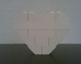 LEGO Heart Pin/Brooch (White)