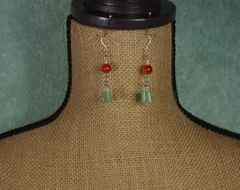 Solid Stampted .925 Carnilian and Green Aventurine Gemstone Earrings