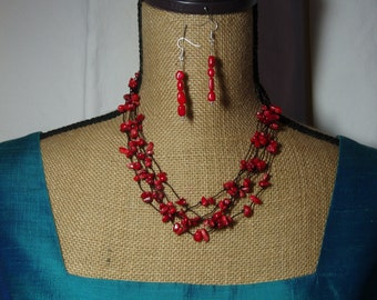 5 Row  AAA  Red Coral Chip Necklace and Earrings