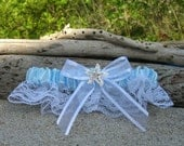 Beach Bridal Wedding Garter,Something Blue Garter,Starfish Garter,Beach Weddings, Bridal Garter, Blue and White Garter,Nautical Wedding