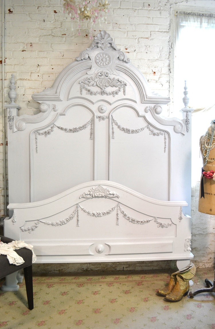 Painted Cottage Shabby French Grey Romantic Bed Queen/ King