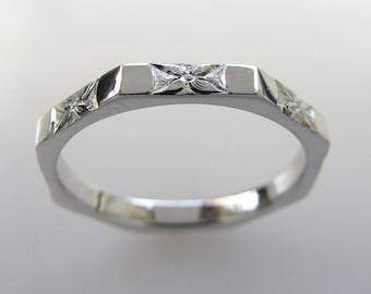 Hand Engraved Wedding or Anniversary Band with Orange Blossom