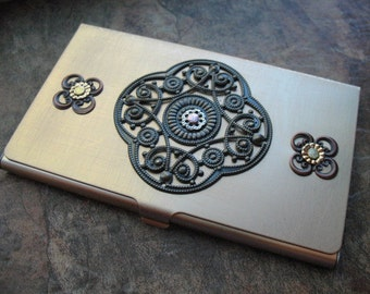 Riveted Filigree Brass Business Card Case