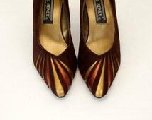 1980s heels, 1980s metallic heels, brown suede shoes, copper gold metallic, sun ray design, Size 8, J. Renee' shoes
