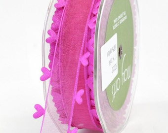 Sheer Heart Edged Ribbon - Hot Pink - 1 inch  - You Choose Yards